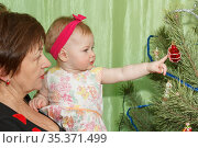 Grandmother with her granddaughter on their hands looking at the toys on the New Year tree. Стоковое фото, фотограф Акиньшин Владимир / Фотобанк Лори