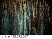 Horror background with grunge texture with black shadows and glow, strange scary dark rusty iron painted mystical mysterious old destroyed wall surface. Стоковое фото, фотограф Светлана Евграфова / Фотобанк Лори