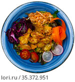 Breaded chicken fillets with mustard vinaigrette and vegetables. Стоковое фото, фотограф Яков Филимонов / Фотобанк Лори