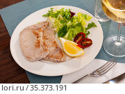 Tuna fillet platter with vegetable salad. Стоковое фото, фотограф Яков Филимонов / Фотобанк Лори