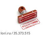 Postponed. The stamp and an imprint. Стоковая анимация, видеограф WalDeMarus / Фотобанк Лори