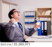 Businessman with star award in office. Стоковое фото, фотограф Elnur / Фотобанк Лори