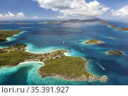 Aerial view of Caneel Bay on the island of St. John with St. Thomas... Стоковое фото, фотограф Larry Malvin / age Fotostock / Фотобанк Лори