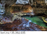 Green pool, flowing water and a circular rock formation at the Subway... Стоковое фото, фотограф Larry Malvin / age Fotostock / Фотобанк Лори