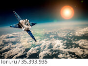 Space satellite orbiting the earth. Elements of this image furnished... Стоковое фото, фотограф Zoonar.com/Andrey Armyagov / easy Fotostock / Фотобанк Лори