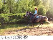 Young girl riding fast on a gray horse (2017 год). Редакционное фото, фотограф Филатова Ирина / Фотобанк Лори