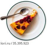 Slice of cherry pie on white plate. Стоковое фото, фотограф Яков Филимонов / Фотобанк Лори
