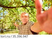 Senior mit geschlossenen Augen bei einer Qi Gong Atemübung im Sommer... Стоковое фото, фотограф Zoonar.com/Robert Kneschke / age Fotostock / Фотобанк Лори