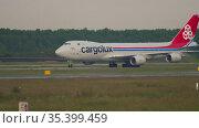 Cargolux prepares for takeoff. Редакционное видео, видеограф Игорь Жоров / Фотобанк Лори