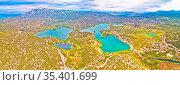 Bacina lakes landscape aerial panoramic view, southern Dalmatia region... Стоковое фото, фотограф Zoonar.com/Dalibor Brlek / easy Fotostock / Фотобанк Лори