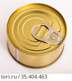 Unlabeled golden tin can. Стоковое фото, фотограф Яков Филимонов / Фотобанк Лори