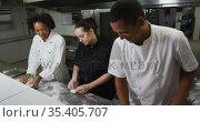 Diverse group of chefs preparing dough and talking in restaurant kitchen. Стоковое видео, агентство Wavebreak Media / Фотобанк Лори