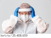 Medical workers, covid-19 pandemic, coronavirus concept. Close-up... Стоковое фото, фотограф Zoonar.com/Seva Levitsky / easy Fotostock / Фотобанк Лори