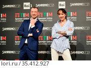 Sanremo Festival host and artistic director, Amadeus and Ema Stokholma... Редакционное фото, фотограф Maria Laura Antonelli / AGF/Maria Laura Antonelli / age Fotostock / Фотобанк Лори