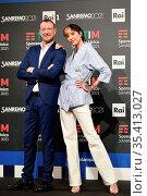 Sanremo Festival host and artistic director, Amadeus, and Ema Stokholma... Редакционное фото, фотограф Maria Laura Antonelli / AGF/Maria Laura Antonelli / age Fotostock / Фотобанк Лори