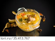 vegetarian vegetable soup with porcini mushrooms in a glass bowl. Стоковое фото, фотограф Peredniankina / Фотобанк Лори