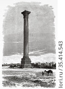 Pompey's pillar , Alexandria. Ancient Egypt History. Old 19th century... Редакционное фото, фотограф Jerónimo Alba / age Fotostock / Фотобанк Лори