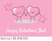 Happy valentines boo text with two hearts holding hands on pink background. Стоковое фото, агентство Wavebreak Media / Фотобанк Лори