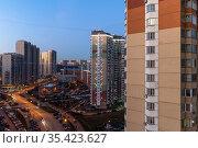 Krasnogorsk, Russia - 06 Dec 2020. General view of residential buildings in the city center. Редакционное фото, фотограф Володина Ольга / Фотобанк Лори