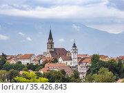 Kranj town with Alps in Slovenia. Стоковое фото, фотограф Richard Semik / easy Fotostock / Фотобанк Лори