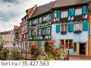 Embankment of Lauch River with historical houses in Colmar, Alsace... Стоковое фото, фотограф Zoonar.com/Boris Breytman / easy Fotostock / Фотобанк Лори