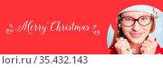 Karte zu Weihnachten mit Merry Chritsmas Slogan und Schnee. Стоковое фото, фотограф Zoonar.com/Robert Kneschke / age Fotostock / Фотобанк Лори