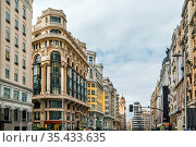 Gran Via is an ornate and upscale shopping street located in central... Стоковое фото, фотограф Zoonar.com/Boris Breytman / easy Fotostock / Фотобанк Лори
