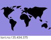 Black contour of world map on purple background. Стоковое фото, агентство Wavebreak Media / Фотобанк Лори