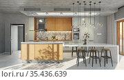 modern kitchen interior. Стоковое фото, фотограф Виктор Застольский / Фотобанк Лори