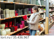 Female seller is standing near clay pots in stock. Стоковое фото, фотограф Яков Филимонов / Фотобанк Лори