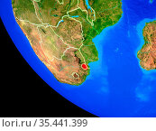 ESwatini on realistic model of planet Earth with country borders and... Стоковое фото, фотограф Zoonar.com/Tomas Griger / easy Fotostock / Фотобанк Лори