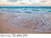 Caribbean Sea on early morning, empty beach view (2020 год). Стоковое фото, фотограф EugeneSergeev / Фотобанк Лори