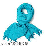Blue trendy cotton scarf isolated on white background, accessory knotted... Стоковое фото, фотограф Zoonar.com/Danko Natalya / easy Fotostock / Фотобанк Лори