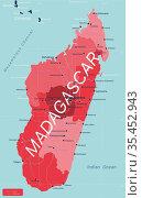 Madagascar country detailed editable map. Стоковая иллюстрация, иллюстратор Jan Jack Russo Media / Фотобанк Лори