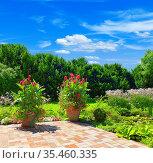Schöne gepflegte Gartenterrasse mit buntem Blumenbeet und Gartenteich. Стоковое фото, фотограф Zoonar.com/manfred2000 / easy Fotostock / Фотобанк Лори