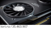 GPU Graphics card cooler close up. Modern gaming graphics processing unit. Стоковое фото, фотограф Maksym Yemelyanov / Фотобанк Лори