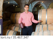 Laughing male owner of winery standing with wine. Стоковое фото, фотограф Яков Филимонов / Фотобанк Лори