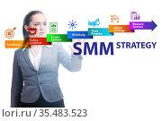 Businesswoman pressing button in SMM strategy concept. Стоковое фото, фотограф Elnur / Фотобанк Лори