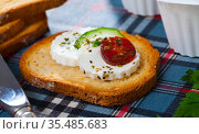 Close up image of canape with young cheese. Стоковое фото, фотограф Яков Филимонов / Фотобанк Лори