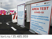 Covid-19 Vaccination Center at Fiumicino Airport Leonardo da Vinci... Редакционное фото, фотограф Maria Laura Antonelli / AGF/Maria Laura Antonelli / age Fotostock / Фотобанк Лори