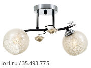 Black two-lamp ceiling lamp with chrome base, matt translucent glass shades, with floral ornaments. Isolated on white background. Стоковое фото, фотограф Вадим Орлов / Фотобанк Лори