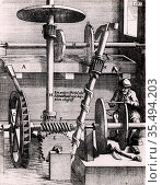 Perpetual motion: Grindstone driven, via work and spur, by an overshot... Редакционное фото, агентство World History Archive / Фотобанк Лори