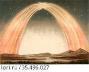 Aurora Borealis or Northern Lights observed from Guildford, Surrey, England, 14 October 1870. Редакционное фото, агентство World History Archive / Фотобанк Лори
