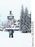 Kopaonik, Serbia - January 18, 2016: Street of ski resort Kopaonik... Стоковое фото, фотограф Zoonar.com/Nataliya_Nazarova{} / age Fotostock / Фотобанк Лори