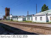 Belorussky railway station-- is one of the nine main railway stations in Moscow, Russia. It was opened in 1870 and rebuilt in its current form in 1907-1912 (2015 год). Редакционное фото, фотограф Владимир Журавлев / Фотобанк Лори