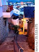 Down street in Old town of Viana do Bolo, Orense, Spain. Стоковое фото, фотограф Pablo Méndez / age Fotostock / Фотобанк Лори