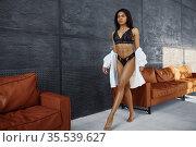 Slim woman in lingerie posing near leather sofa. Стоковое фото, фотограф Tryapitsyn Sergiy / Фотобанк Лори