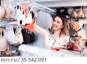 Customer woman in underwear shop. Стоковое фото, фотограф Яков Филимонов / Фотобанк Лори