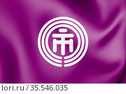 3D Flag of Ichikawa (Chiba Prefecture), Japan. 3D Illustration. Стоковое фото, фотограф Zoonar.com/Inna Popkova / easy Fotostock / Фотобанк Лори