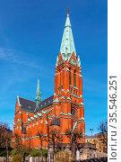 St. Johannes Church was built in 1890 in central Stockholm, Sweden. Стоковое фото, фотограф Zoonar.com/Boris Breytman / easy Fotostock / Фотобанк Лори
